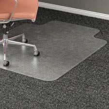 Lorell 45 by 53-Inch Wide Medium Plush Chairmat, 25 by 12-Inch Lip, Clear