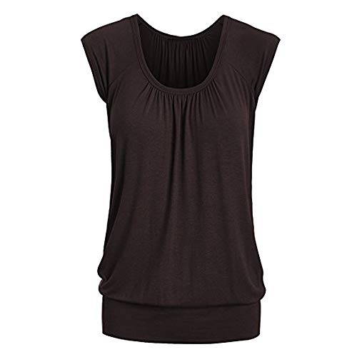 (Aniywn Women Round Neck Ruffled Short Sleeve Blouse Solid Color Ruched Irregular T-Shirt Tops Brown)