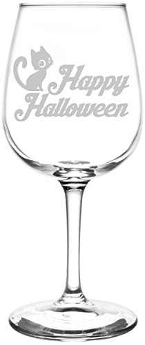 Cute Happy Halloween Phrases ((Cute Cat) Funny And Scary Happy Halloween Celebration, Decoration, & Novelty Inspired - Laser Engraved 12.75oz Libbey All-Purpose Wine Taster Glasses)