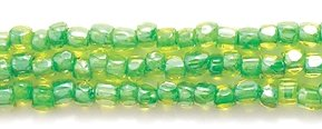 (Preciosa Ornela Czech 3-Cut Style Seed Glass Bead, Size 9/0, Color Lined Yellow with Green Lining)