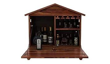 Ringabell Solid Sheesham Wood Jaxon Wall Mount Wine Bar Cabinet