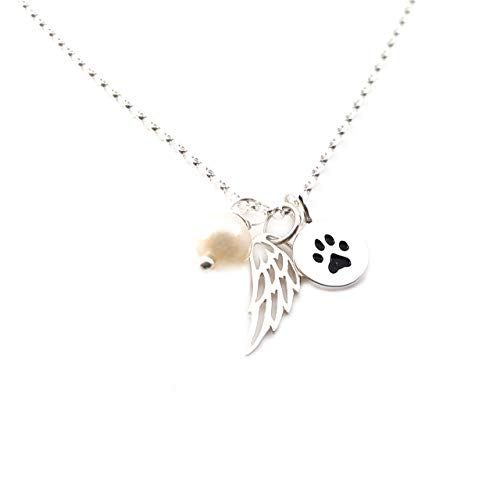 Paw Print Angel Wing Necklace - Sterling Silver - Dog Memorial Jewelry - Pet Loss Sympathy Gift