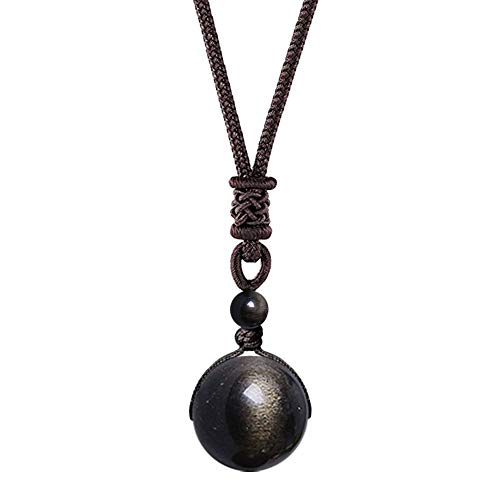 OK-STORE Natural Black Obsidian Rainbow Eyes Stone Necklace Pendant, 16mm Obsidian Bead with Woven Cotton Cord, Talisman Dedication of Wellness and Wealth (Gold Obsidian 16mm)