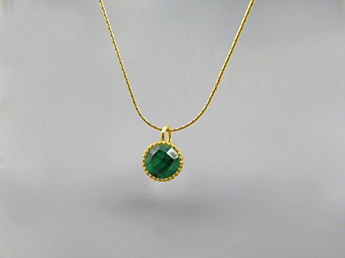 Emerald Genuine Gemstone Round Pendant Necklace For Women 18K Gold Plated May Birthstone Jewelry Emerald Necklace Emerald Pendant Jewelry Set Gift for Women Faceted Green Stone Custom Jewelry Handmade by Chen Fuchs Jewelry