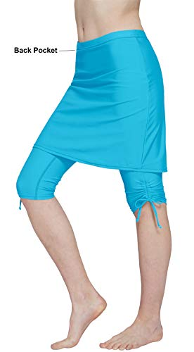 HonourSex Women Swim Skirted Leggings UPF50+ High Waist Swimsuits Skorts Bottoms, Surfing Beach Athletic Capri Skirts Light Blue -