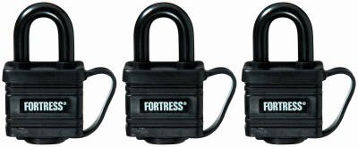 Master Lock 1804TRI 3-Pack 1-9/16 Inch Covered Laminated Weatherproof Keyed-Alike Padlock