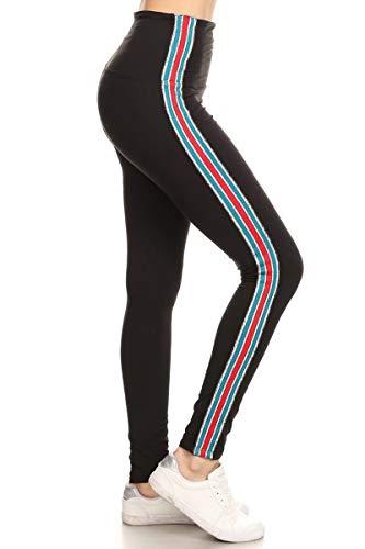 LT74-BLACK-PLUS Yoga Leggings Glitter Side Tape, Plus -
