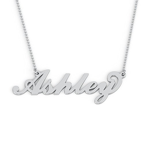 10K White Gold Personalized Name Necklace with a 16