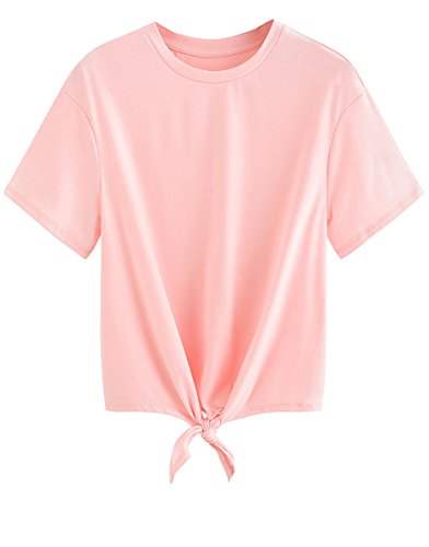 Romwe Women's Short Sleeve Tie Front Knot Casual Loose Fit Tee T-Shirt Pink XL -