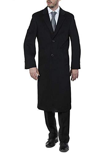 Adam Baker Men's Single Breasted 40811 Luxury Wool Full Length Topcoat - Solid Black - 44L