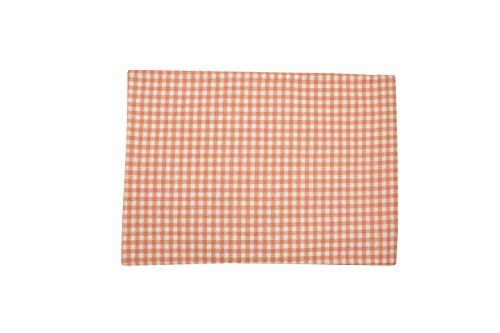 (Cotton Placemat, 100% Cotton Machine Washable, Everyday Gingham Checks Small, Mild Pink And White Placemat Dinner Parties, Summer & Outdoor Picnics, Set Of 4, Placemat-13 X 19 Inches)