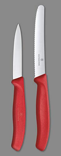 Victorinox Kitchen Knife, Set of 2, Sharp Stainless Steel Straight Edge and Wavy Edge Knives, Red Price & Reviews
