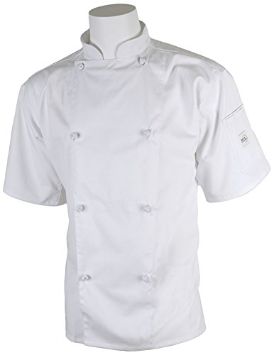 Mercer Culinary M61022WHM Genesis Unisex Short Sleeve Chef Jacket with Cloth Knot Buttons, Medium, White