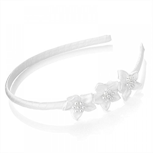Alice Silk (White Triple Flower and Pearl Centre Silk Feel Alice Hair Band Headband)