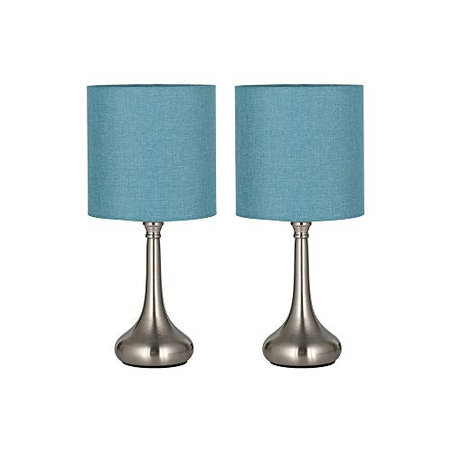 HAITRAL Modern Table Lamps – Bedside Desk Lamps, Unique Nightstand Lamps with Fabric Lamp Shade and Metal Base for Bedroom, Living Room, Office, College Dorm, Den – Light Blue HT-BTL07-2BU
