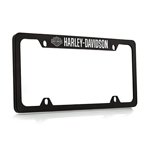 Harley Davidson Silver & Black Bar & Shield Logo on left Car Truck SUV License Plate Frame Black Metal - Harley Davidson Script on - Metal Plate License Davidson Harley