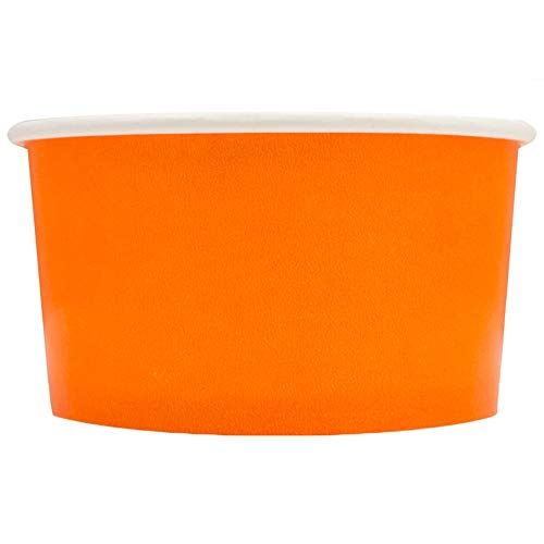 Orange Paper Ice Cream Cups - 6 oz Dessert Bowls - Comes In Many Colors & Sizes! Frozen Dessert Supplies - Fast Shipping! 50 Count ()