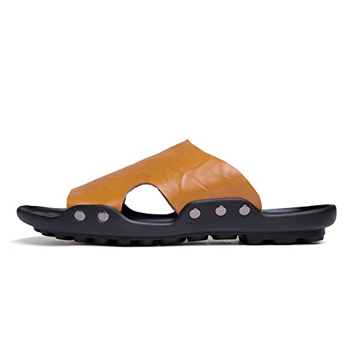 morbidi antiscivolo shoes spiaggia 40 lavoro 2018 da pelle Sandali Color Pantofole manuale Mens EU Nero in uomo piatti vera non Dimensione da incollati Orange Casual ZwaIaq