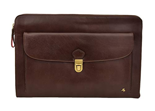 Underarm Folio Bag Real Brown Leather Portfolio Conference Tablet Document Case Oxford