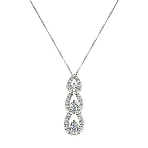 Tear Drop Cascade Diamond Necklace Past Present Future 18K White Gold Pendant 1 Carat Total Weight ()