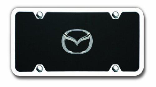Au-TOMOTIVE GOLD Mazda Black Acrylic License Plate with Chrome Frame