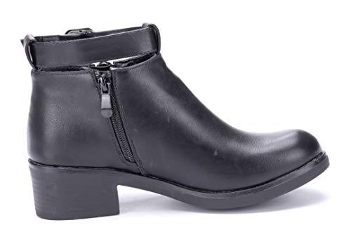 Argeliers Schnalle Used Stiefel Stiefeletten Blockabsatz Boots Schuhe cm Schwarz Damen Schuhtempel24 Look Klassische 5 Reißverschluss qxzIH86nwF