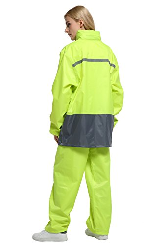 Maiyu Motorcycle Rain Gear 2 Piece Rain Suit Rain Jacket and Rain Pants Set (Yellow, X-Large)