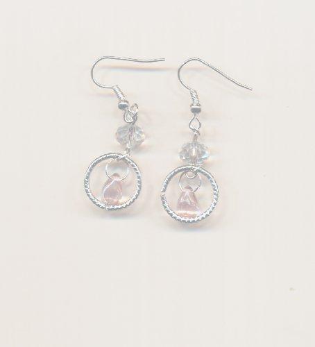 1 paire Boucles d'oreilles metal, perles rose , petite perles cristal. Accessoires argentes.