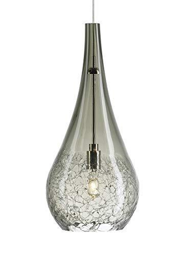 Tech Lighting 700FJSEGKS Seguro - One Light Freejack Pendant, Satin Nickel Finish with Smoke Glass