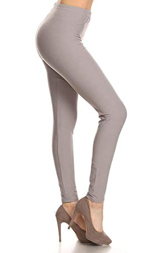 LDR128-LightGray Basic Solid Leggings, One Size -