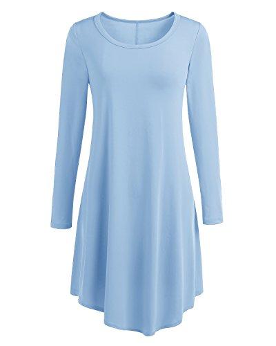 Bbonlinedress Vestido Camisero Mujer Casual Corto Básico Manga Larga Light Blue