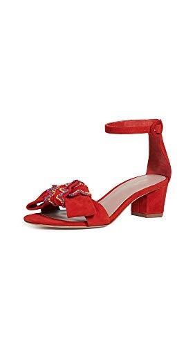 (Diane von Furstenberg Women's Jo 45 Lace Sandals, Red, 9 M US)