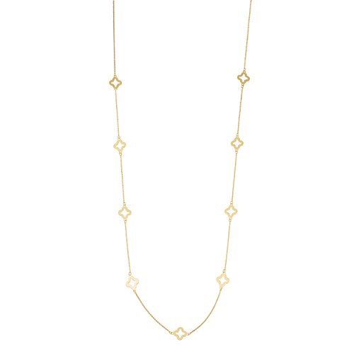 14k Yellow Gold Clover Flower Station Necklace (26 inch) (Clover Yellow 14k Gold)
