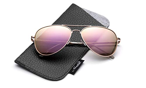 Newbee Fashion-Polarized Kids Teens Juniors Aviator Polarized Sunglasses Stainless Steel Frame Spring Hinge Kids Polarized Sunglasses for Girls & Boys UV Protection with Carrying Pouch