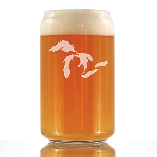 Great Lakes Map Beer Can Pint Glass Gift for Beer Drinking Men & Women - 16 oz Glassware - Unique Engraved Barware Gifts