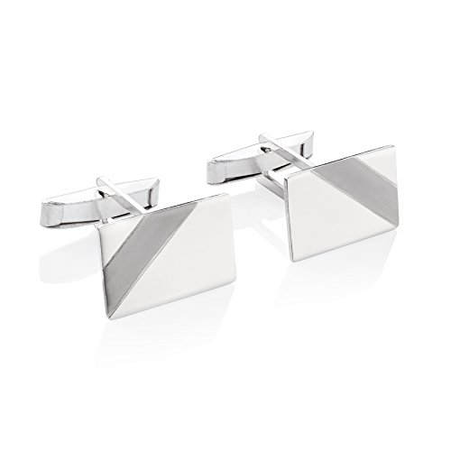 (STERLL Men Solid Sterling Silver 925 Cufflinks polished with a black stripe, Gift Set for Men )