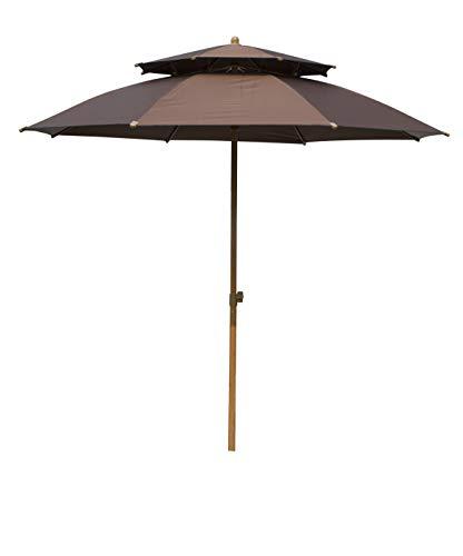 Panbay 7.2Ft Sunbrella Market Beach Umbrella Patio Outdoor Table Umbrella with Ventilation,Bonus Weatherproof Cover (Sunbrella Brown)