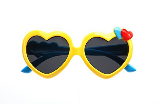 TIJN Kids Flex Rubber Polarized Heart Shaped Sunglasses for Girls - Discounts Sunglasses