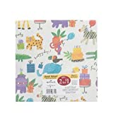 Animal Happy Birthday Gift Wrap 2 Sheets 20 Inch X 2.5 Ft