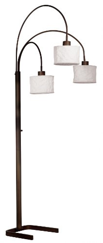Kenroy Home 30674ORB Crush Arc 3-Light Lamp with White Paper Shades, Oil Rubbed Bronze