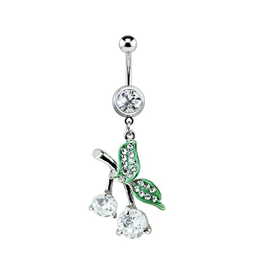 Dynamique 316L Surgical Steel Gem Cherry Dangle Belly Button Ring