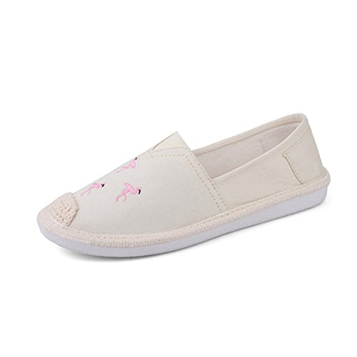 York Zhu Women's Loafers Shoes, Canvas Embroidery Slip on Hemp Fisherman Shoes -