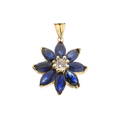 (Exotic 10k Yellow Gold Daisy Diamond and Sapphire Flower Pendant)