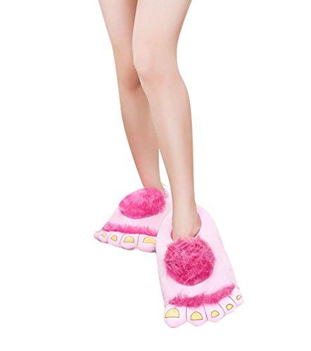 YOUJIA Mujer/Hombre Unisex Felpa Zapatillas de Estar en casa , Cómodo Pies Pantuflas Zapatos de Invierno, Azul