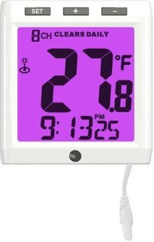 Ambient Weather WS-01TP Color Changing Wireless Aquarium Thermometer Night Light with Ambient Backlight, White