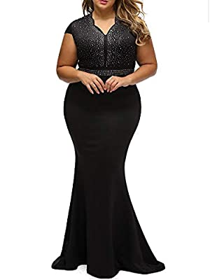 Women 1920s Black Gatsby Maxi Long Evening Prom Mermaid Dress Plus Size