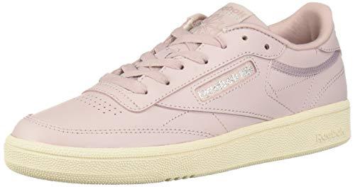 Womens Leather Sneakers - Reebok Women's Club C 85 Sneaker, Ashen Lilac/Pure Silver/Paper White, 8 M US