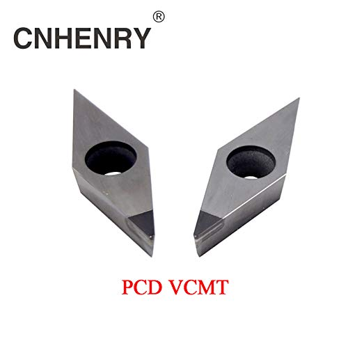 Pcd Insert - FINCOS 2 PCS PCD Machining Lathe Turning Inserts VCMT 160401/02/04/08/12 CNC PCD Diamond Inserts Carbide Lathe Cutter CNC Tools - (Insert Width(mm): PCD VCMT160402)