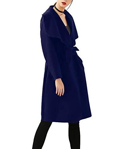 Gabardina Retro Elegantes Abierto Con Fashion Solapa Sólidos Largos Otoño Blau Transición Mujer Largo Adelina Manga Cinturón Colores Abrigo De Casuales Primavera Relaxed BnAqfxOwEz