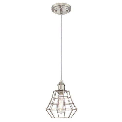 Westinghouse Lighting 6337200 Nathaniel One-Light Indoor Mini Pendant, Brushed Nickel Finish with Angled Bell Cage Shade,